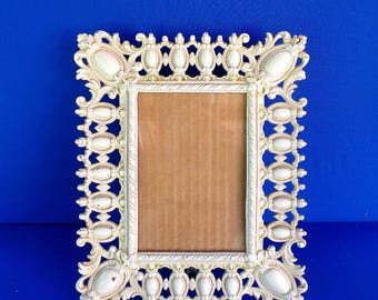 Vintage Cast Iron White Easel Picture Frame FREE SHIPPING