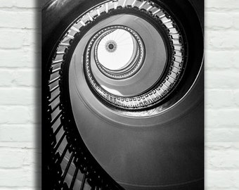"Black and White Spiral Staircase Canvas Wrap - stairs 8x12 16x24 architecture photography 24x36 canvas wrap large art - ""Floating Up to You"""