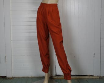 80s Harem Pants in Paprika Red - 1980s Vintage High Waist Tapered Pants- Burnt Orange High Waist- Small- Neiman Marcus- Disco