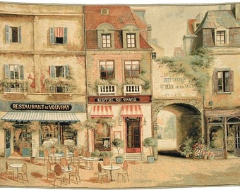 belgian wall tapestry hanging wall decor Rue de Paris street and boutiques gobelin jacquard woven