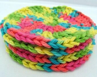 Crochet Cotton Coasters - Springtime Colors