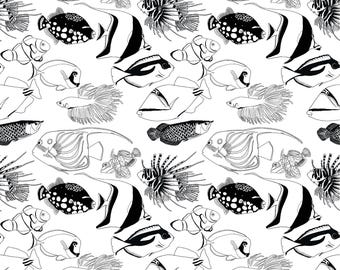 Exotic Fish Black and White wrapping paper A2