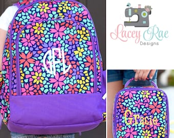 Girls Petal Punch Personalized Backpack, Lunchbox, and pencil pouch, preschool backpack, School Age Backpack, Monogrammed, purple and floral
