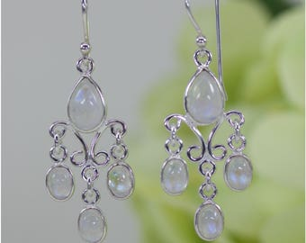 Naturally Glowing Moonstone Filigree Chandelier Earrings in Sterling Silver, Anniversary Gift, Birthday Gift, Thank You Gift