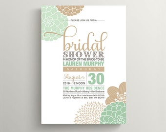 Printable Bridal Shower Invitation - Modern flower design in Mint and Tan (PP82)