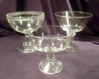"Collection of 3 Early American Clear Glass Compotes, 6-7"" Diameter"