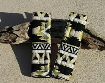 Tribal Black and Gold Seat Belt covers /Aztec seat belt covers/ car accessories/