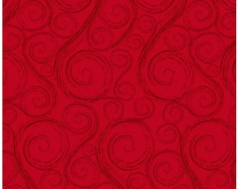 Holiday Wishes Red Swirls Christmas Fabric by Jan Shade Beach New 2018 Christmas Sold By the Half Yard in One Continuous Cut