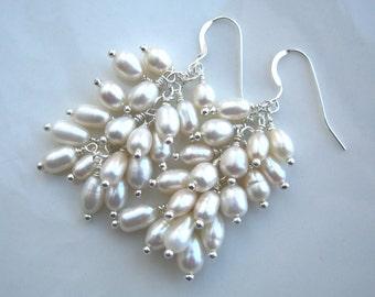White Freshwater Pearl Cluster Earrings Pearl Wedding Earrings Pearl Bridal Earrings Pearl Earrings