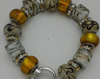 DaVinci Lampwork Yellow and Gold Beaded Bracelet.
