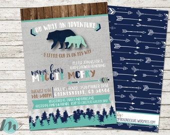 Oh What An Adventure, Mama Bear Baby Shower Invitation, Baby Boy Shower File, Digital Baby Shower Invitation, A Little Cub is On His Way,