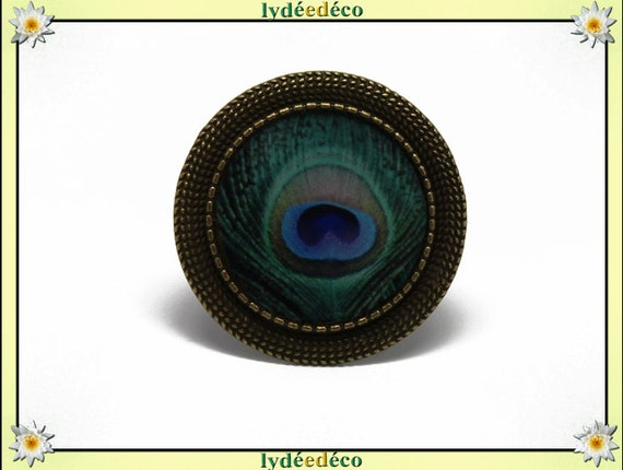 Round ring retro vintage blue Peacock feather Brown resin adjustable brass charm retro 20mm