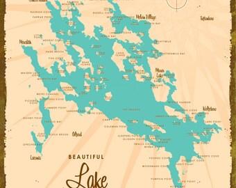 Lake Winnipesaukee, NH Map - Wood or Metal Sign