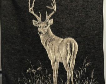 """Vtg Biederlack Deer Buck Blanket 56"""" x 76"""" Soft Hi Pile Plush Hunter Sportsman"""