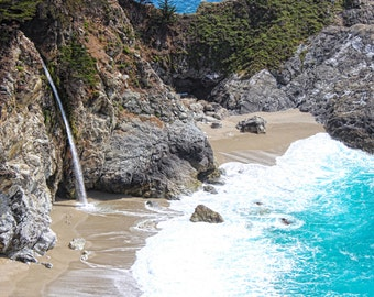 McWay Falls, Julia Pfeiffer Burns State Park, Waterfall, Ocean, Mountain, Beach, Big Sur, Central California