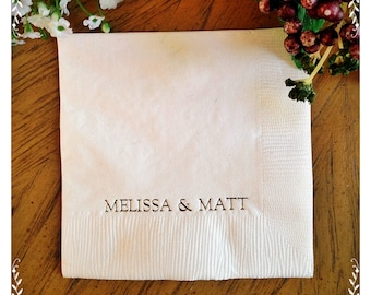Personalized Napkins Printed Engrave Monogram Custom Paper Cocktail Luncheon Dinner Guest Towel Wedding Birthday Shower Anniversary