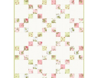 Heather Irish Chain Quilt Kit by Maywood Studio - Precut Floral Quilt Pink and Green
