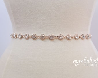 Thin Rose Gold Crystal Rhinestone Belt- Bridal Belt or Rose gold Bridesmaid Belt- Gold Bridal Belt- Gold Wedding Sash- B024