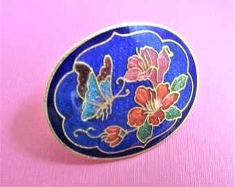 Lapis Blue Scarf Slide Cloisonne Accessory Floral Butterfly Image Lapis Cloisonne Boutique Jewelry Peach Gold Oval Scarf Clip Mother's Day