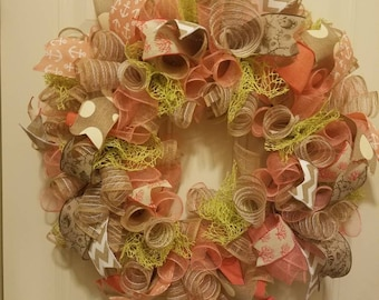 Coral and Lime Sea Wreath