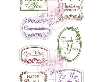 Vintage Label Greetings acrylic stamps