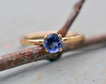 Stunning Blue Iolite Solitaire Ring in 14k Yellow Gold, Blue Gemstone Ring, Water Sapphire, Engagement
