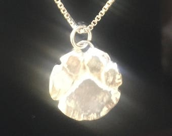 Fine Silver Pet Lover  Paw Necklace- Dog, Cat, FREE Shipping with Sterling Silver Box Chain