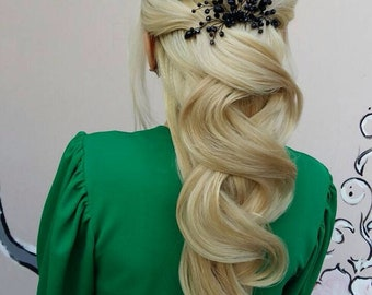 Black hair comb, Bridal hair comb, Wedding hair comb, Bridal headpiece, Decorative Comb, Wedding comb, hair jewelry, Black accessories