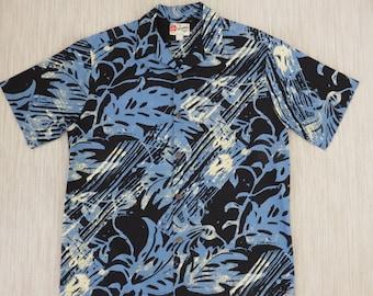 Hawaiian Shirt Men HILO HATTIE Vintage Aloha Shirt Paintball Mod Tropical Print New Age Surfer 100% Cotton Camp - L - Oahu Lew's Shirt Shack