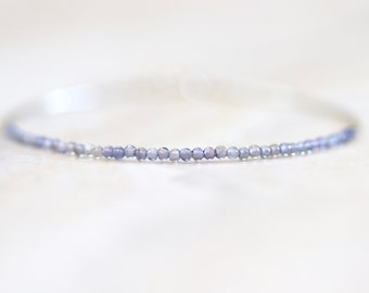 tiny iolite beaded bracelet with liquid sterling silver.  delicate iolite beaded stacking bracelet. tiny iolite and sterling. iolite jewelry