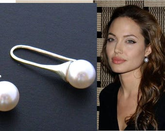Drop Pearl Earrings/Silver and 10 mm White Drop Pearl Earrings/Sweet 16/Large Pearl Earrings/Angelina Jolie Wedding Jewelry/Bridesmaid Gift