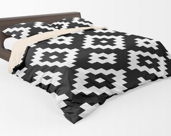 54 colors Aztec Tribal Duvet Cover in Twin Queen King Sizes Black and White Optional Pillow Shams Boho Chic Diamonds Bedding Bedroom Decor
