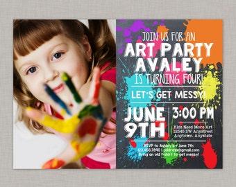 Art Party Invitation, Art Party Birthday Invitation, Painting Party Invitation