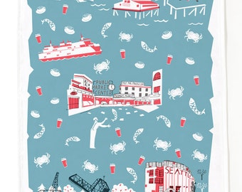 Seattle Tea Towel-Home Goods-Kitchen-Blue Grey-Red-Grey-17 x 28-Cooking-Baking-Hostess Gift