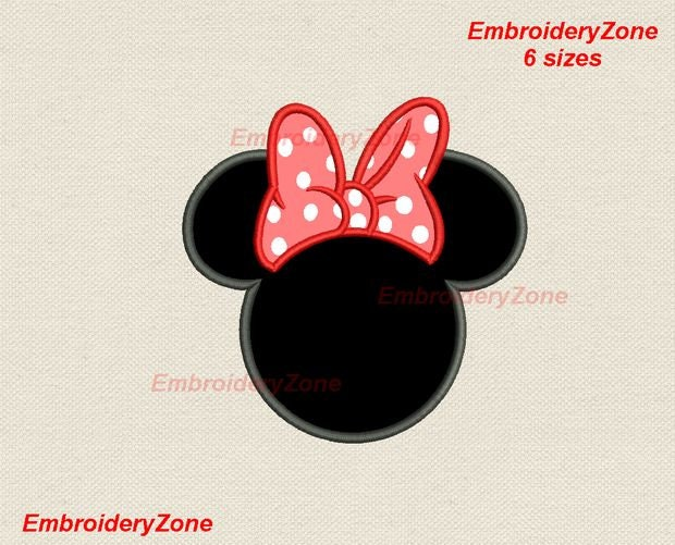 Head Minnie Mouse With Bow Applique Machine Embroidery Design Minnie