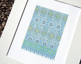 Moorish Tile Pattern 6 in Soft Blue Chambray, Pale Green & Cream Archival Quality Print