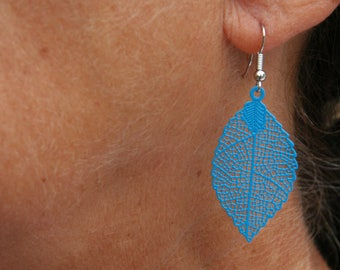 Blue leaf earrings