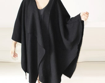Wool coat, women cape,wool wrapped asymmetric cape, loose fitting poncho coat, black wool cardigan