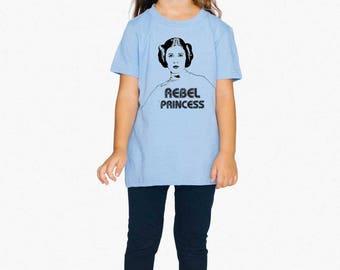 REBEL PRINCESS Leia Tee, KIDS Top Cotton Girls 2-6 Years Old, Toddler Star Wars T-shirt, Princess Leia Vintage Star Wars American Apparel