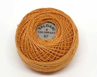 Valdani Pearl Cotton Thread Size 8 Solid: #67 Bright Rusty Orange