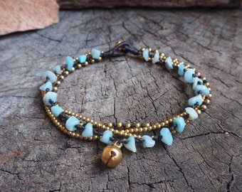 Amazonite Brass Chain Anklet, Hippie Multi Stone Ankle Bracelet, Boho Women Anklet