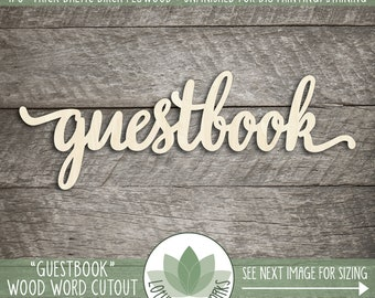 Guestbook Wood Word, Wedding Guestbook Sign, Laser Cut Wood Words, Wedding Signs, Unfinished Wood For DIY Projectes, Wedding Decor