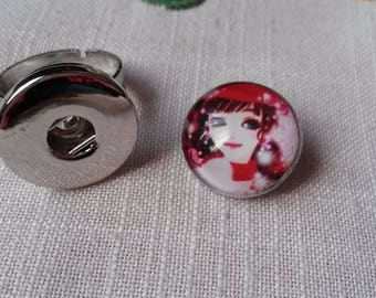 adjustable round ring with adjustable button Lady in red