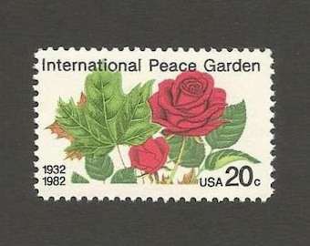 10 Red Rose International Peace Garden Postage Stamps, 20 Cents, Unused # 2014