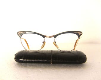 AOW 40's 50's Eyeglasses Early Cat Eye Glasses Frame Gold Filled Baby Blue Spectacles Eyewear FREE SHIPPING Large Medium