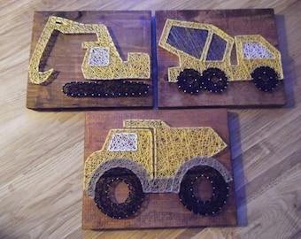 Truck String Art, Truck Decor, Dump Truck, Cement Truck String Art, Excavator String Art, Boys Room Decor, Boys Nursery Decor, Truck Room