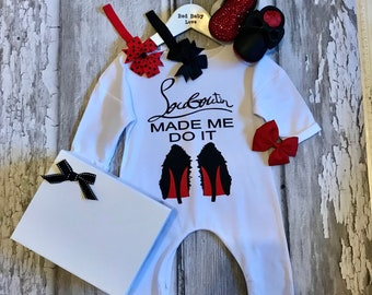 Red Sole Baby Romper & Matching Moccasin Pram Shoes - Diamanties, bling bows -Like Mummy's Louboutins but Designer Inspired! Louboutin Baby!