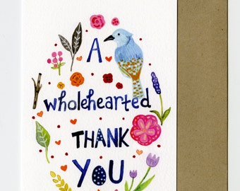 """Hand Illustrated Thank You Card - Love Card - Sweet Thank You Card - 4x6"""" Cute Gratitude Card - Watercolor Handlettering Thank You Card"""
