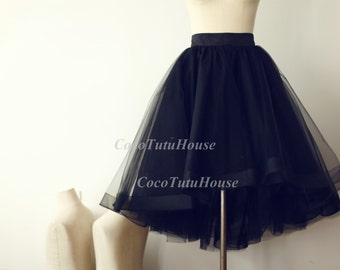 On Sale, Black Hi Low Tulle Skirt /Adult Women Horsehair Tulle Skirt/Wedding Dress Underskirt//Bridesmaid/Valentine's Day Gift