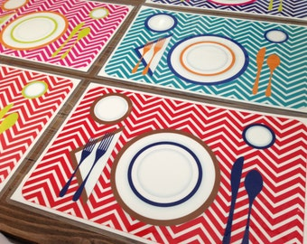 Children's Manners and Table Setting Placemat - Red Chevron